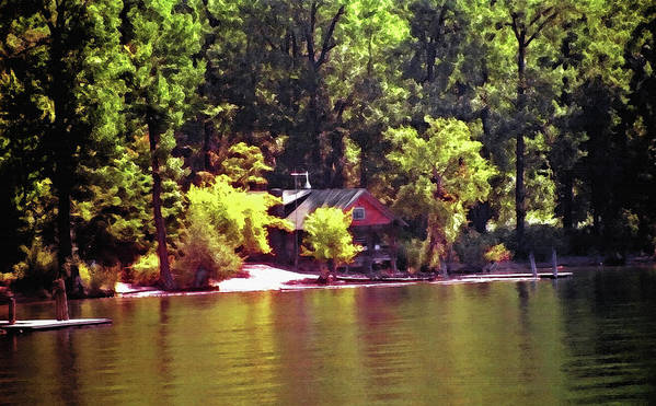 Cabin; Getaway; Retreat; Vacation; Relaxation; Recreation; Leisure; Peaceful; Solitude; Restful; Lakefront; Lakes; Lakeshore; Dock; Boat Dock; Water; Waterfront; Shore; Shoreline; Mountains; Trees; Pines; Woods; Forest; Pine Trees; Secluded; Isolated; Quiet; Cabin By The Lake; Mountain Lakes; Mountain Cabin; Architecture; Watercolor; Canvas; Texture; Digital Art; Artistic; Painterly; Soft Light; Pastoral; Serene; Tranquil; Calming; Relaxing; Peaceful; Nestled; Tucked Away; Alone; Paradise; Nature; Natural; Recreational; Idaho; Couer D Alene; Backwoods; Seclusion; Tranquility Art Print featuring the photograph Lakeside Cabin in Idaho USA by Steve Ohlsen
