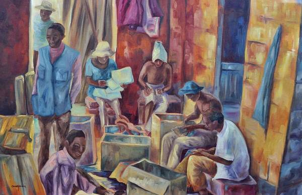 Nairobi Figures Art Print featuring the painting Nairobi Woodcarvers by Ginger Concepcion