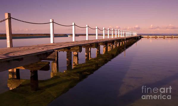 Narrabeen Sydney Sunrise Wharf Walkway Art Print featuring the photograph Narrabeen sunrise by Sheila Smart Fine Art Photography