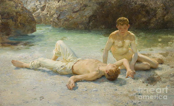 Boy; Boys; Nude; Lying; Lounging; Children; Youths; Youth; Innocent; Hot; Sun Bathing; Sunbathing; Sea; Beach; Coastal; Tanning; Tan; Coastal; Bather; Leisure; Homoerotic; Homosexual; Newlyn School Art Print featuring the painting Noonday Heat by Henry Scott Tuke