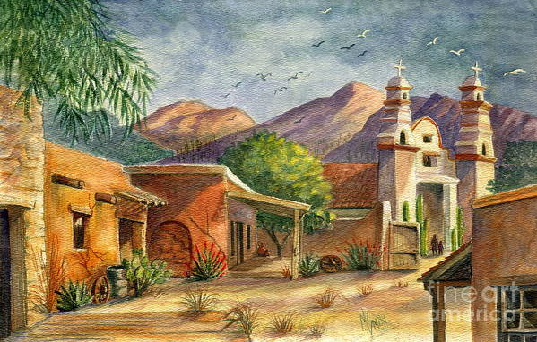 Old Tucson Art Print featuring the painting Old Tucson by Marilyn Smith