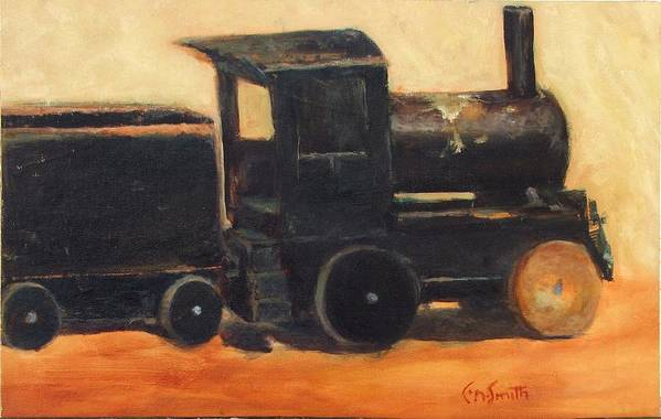 Trains Art Print featuring the painting Old wood toy train by Chris Neil Smith