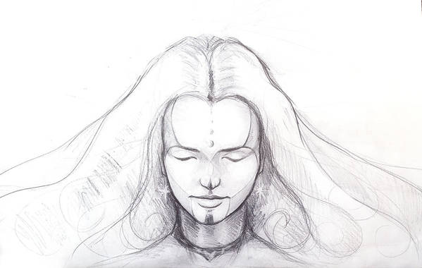 Pencil Drawing Of Beautiful Meditation Girl And Tattoo On Face And Star Earring Art Print By Jozef Klopacka