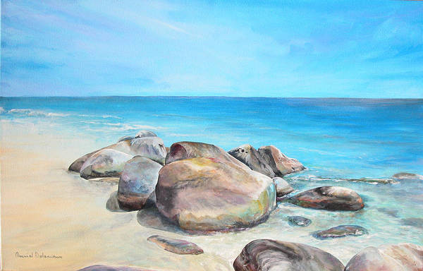 Paysage Art Print featuring the painting Plage by Muriel Dolemieux