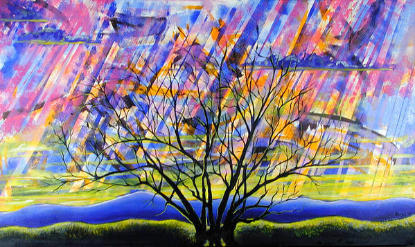 Sunset Art Print featuring the painting Rays Of Life by Rollin Kocsis
