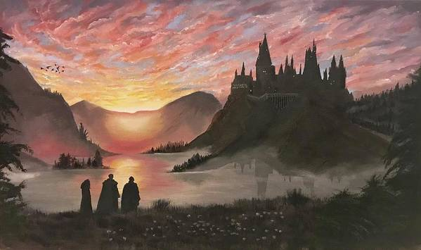 Harry Potter Art Print featuring the painting Requiem for Hogwarts by Ece Turkman