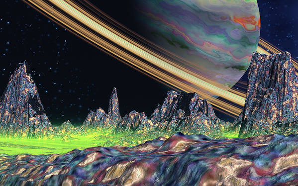 David Jackson Saturn View Alien Landscape Planets Scifi Art Print featuring the digital art Saturn View by David Jackson