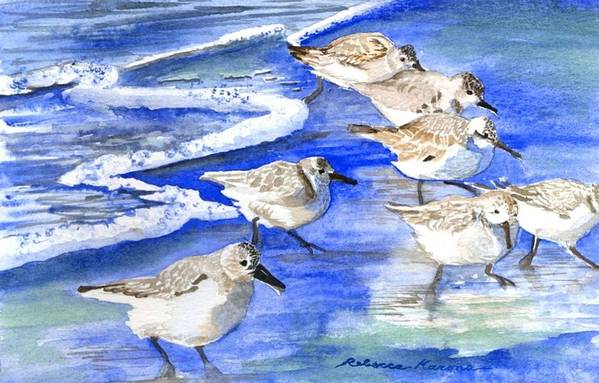 Plovers Art Print featuring the painting Shore Birds by Rebecca Marona