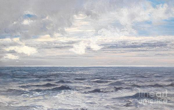 Seascape Art Print featuring the painting Silver Sea by Henry Moore