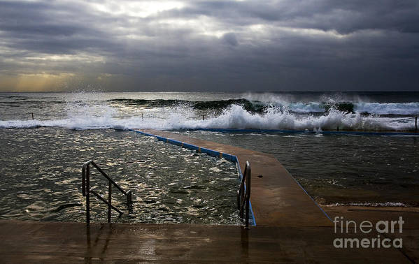 Storm Clouds Collaroy Beach Australia Art Print featuring the photograph Stormy morning at Collaroy by Sheila Smart Fine Art Photography