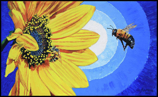 Bee Art Print featuring the painting The Call of the Sunflower by John Lautermilch