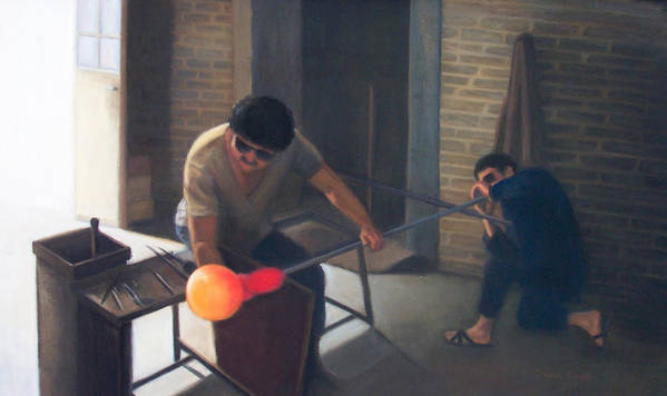 Glassblowers Art Print featuring the painting The Glassblowers by Diane Caudle