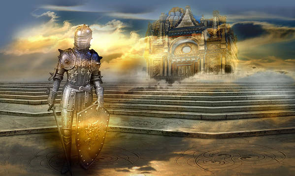 Guardian Knight Palace Court Surrealism Sky Clouds Shield Magic Aerial Castle Fairytales Fantastic Art Print featuring the photograph The guardian of the celestial palace by Desislava Draganova
