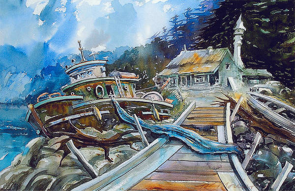 Boat Art Print featuring the painting The Last Bastion..on the Beach by Ron Morrison