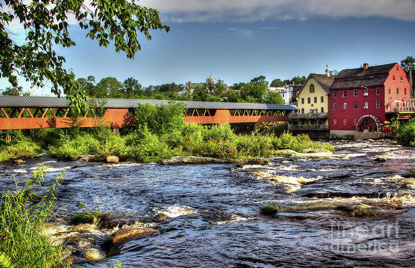 Covered Bridge In Littleton Nh Art Print featuring the photograph The River Walk Bridge by Diana Nault