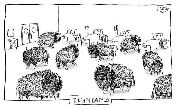 Therapy Buffalo Art Print featuring the drawing Therapy Buffalo by The Surreal McCoy