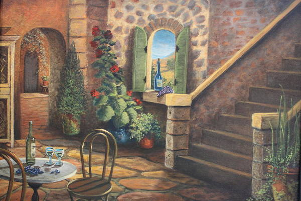 Stairway Art Print featuring the painting Tuscan Retreat by Diana Miller
