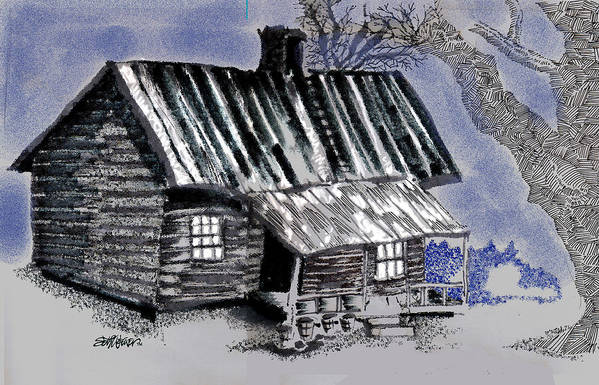 Cabin Art Print featuring the drawing Under a Tin Roof by Seth Weaver