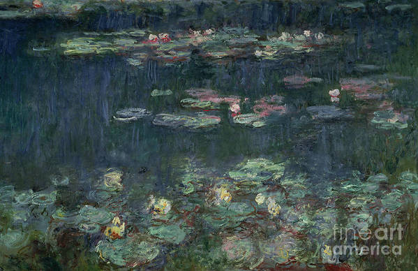 Monet Art Print featuring the painting Waterlilies Green Reflections by Claude Monet