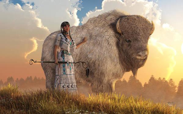 White Buffalo Calf Woman Art Print featuring the digital art White Buffalo Calf Woman by Daniel Eskridge