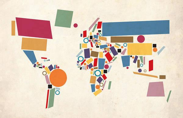 World Map Art Print featuring the digital art World Map Abstract by Michael Tompsett