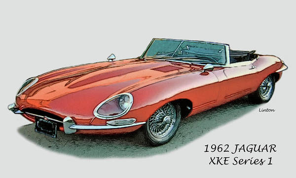 Jaguar Art Print featuring the digital art XKE by Larry Linton