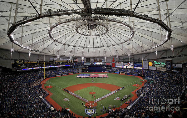 American League Baseball Art Print featuring the photograph Boston Red Sox V Tampa Bay Rays by Mike Ehrmann