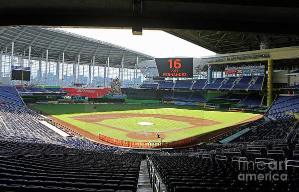 American League Baseball Art Print featuring the photograph Miami Marlins News Conference by Joe Skipper