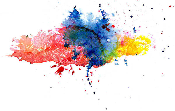Watercolor Painting Art Print featuring the photograph Multicolored Splashes by Alenchi