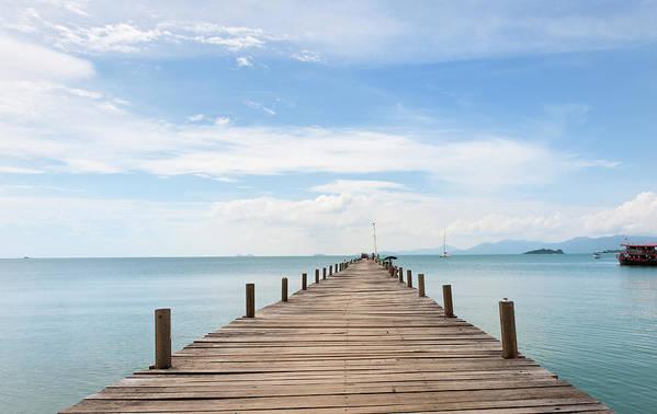 Scenics Art Print featuring the photograph Pier On Koh Samui Island In Thailand by Pidjoe