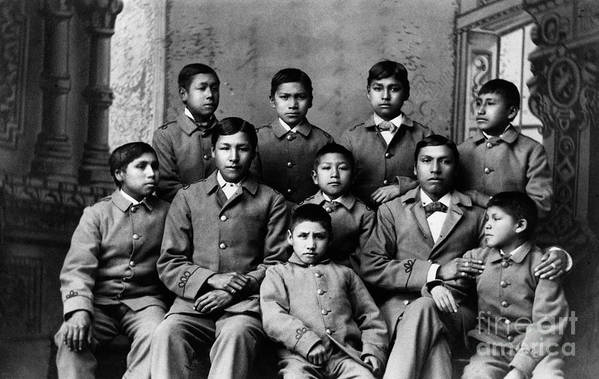 Education Art Print featuring the photograph Students At Carlisle Indian School by Bettmann