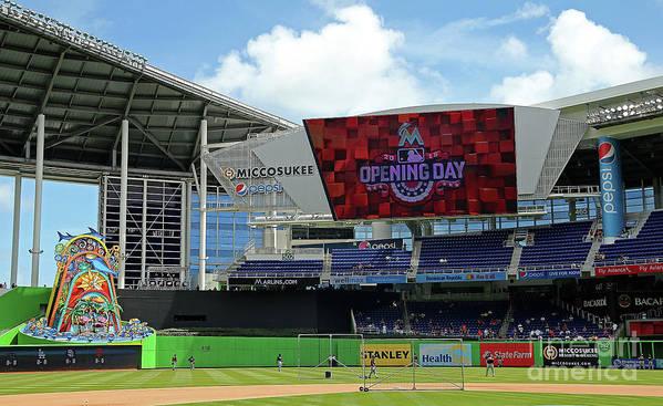 American League Baseball Art Print featuring the photograph Atlanta Braves V Miami Marlins by Mike Ehrmann