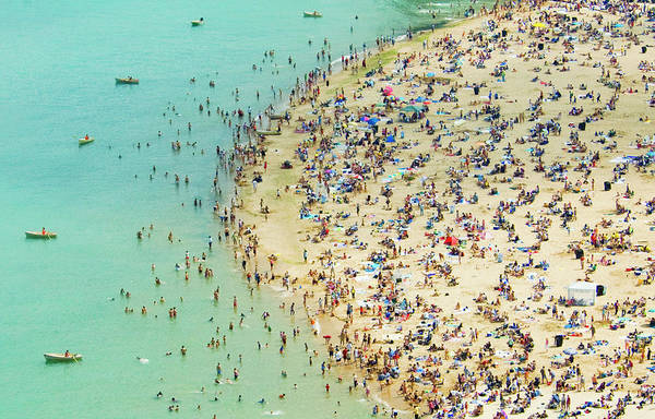 Tranquility Art Print featuring the photograph Aerial Shot Of A Crowded Beach by By Ken Ilio
