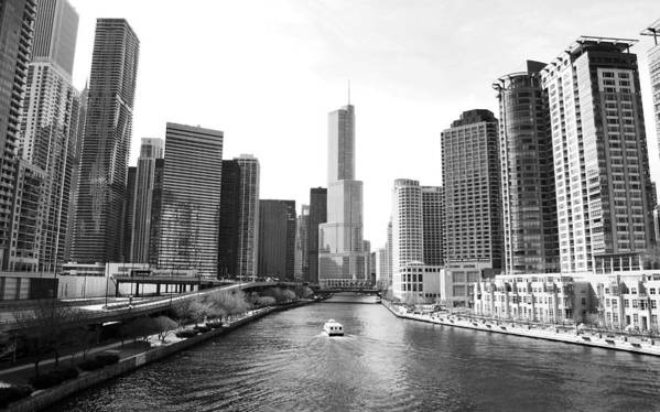Chicago River Art Print featuring the photograph An Unknown Skyline Along The Chicago by Ricardo Montiel