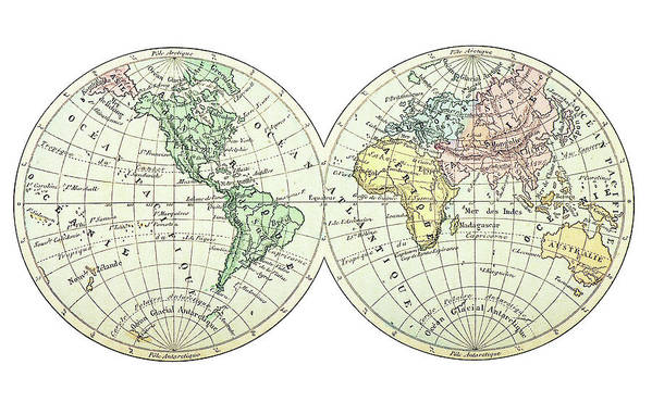 Engraving Art Print featuring the digital art Antique Earth Map by Ilbusca