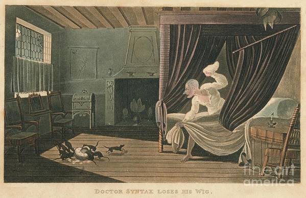 Etching Art Print featuring the drawing Doctor Syntax Loses His Wig, 1820 by Print Collector