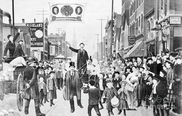 People Art Print featuring the photograph Election Parade Lithograph Supporting by Bettmann