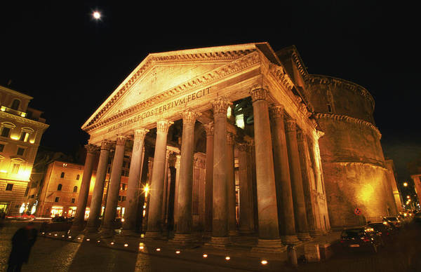 Pantheon Art Print featuring the photograph Full Moon Over Pantheon And Portico by Lonely Planet