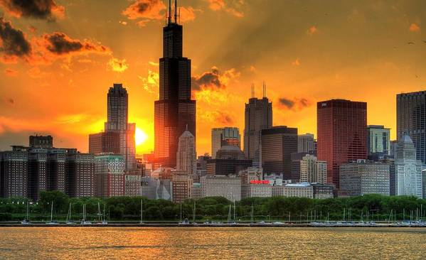 Tranquility Art Print featuring the photograph Hdr Chicago Skyline Sunset by Jeffrey Barry