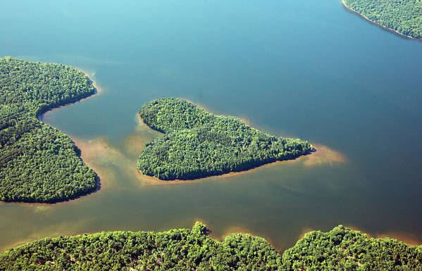 Outdoors Art Print featuring the photograph Heart-shaped Island In Lake by Thomas Jackson