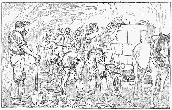 Horse Art Print featuring the drawing Inside A Cheshire Salt Mine, 1889 by Print Collector