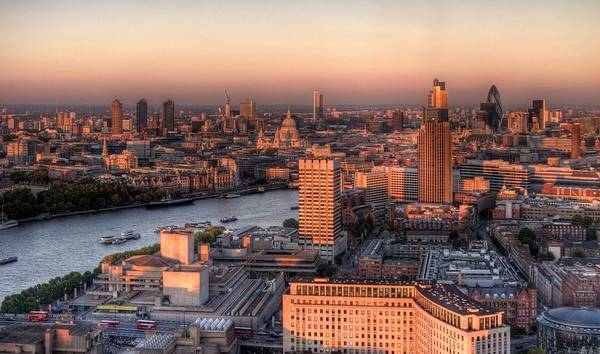 Cityscape Art Print featuring the photograph London Cityscape At Sunset by Michael Lee