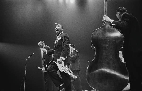 Singer Art Print featuring the photograph Louis Armstrong On Stage by Haywood Magee