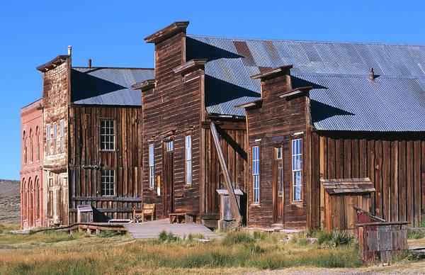 Grass Art Print featuring the photograph Main Street Buildings At Bodie Historic by John Elk Iii