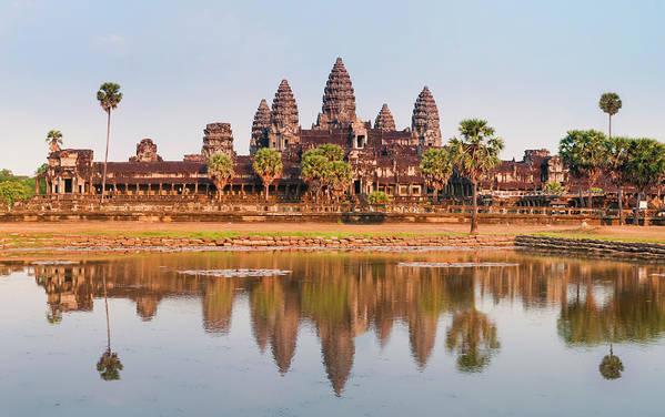 Hinduism Art Print featuring the photograph Panorama Of Angkor Wat Cambodia Ruins by Leezsnow