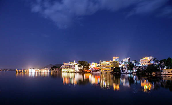 Tranquility Art Print featuring the photograph Pichola Lake Night View by Greenlin