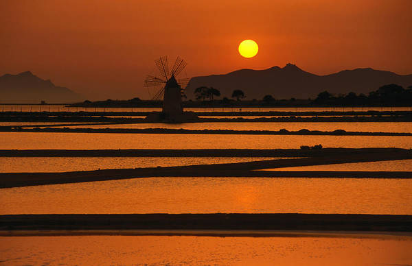 Environmental Conservation Art Print featuring the photograph Sunset Over The Saltpans And A Windmill by Dallas Stribley