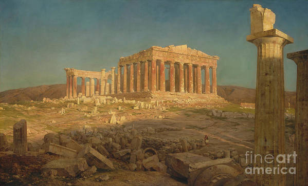 Oil Painting Art Print featuring the drawing The Parthenon by Heritage Images