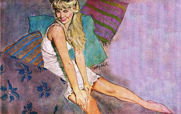 Art Art Print featuring the drawing The Winking Lady On Pillows by Coby Whitmore