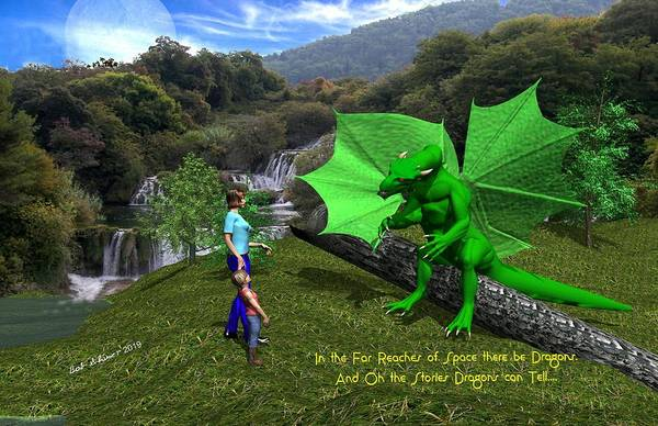 Art Print featuring the digital art There Be Dragons by Bob Shimer